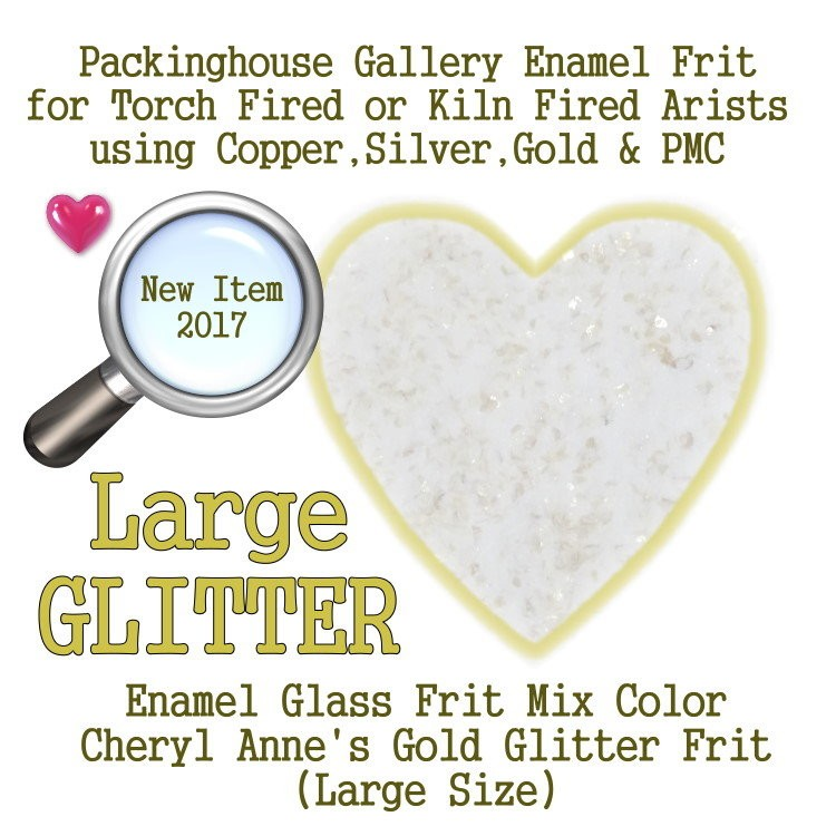 Gold Enamel Glitter Frit, Large Size Frit, Enamel Frit, Glass Frit, for Copper, Gold, Silver, PMC. Thompson Enamel, Packinghouse Gallery